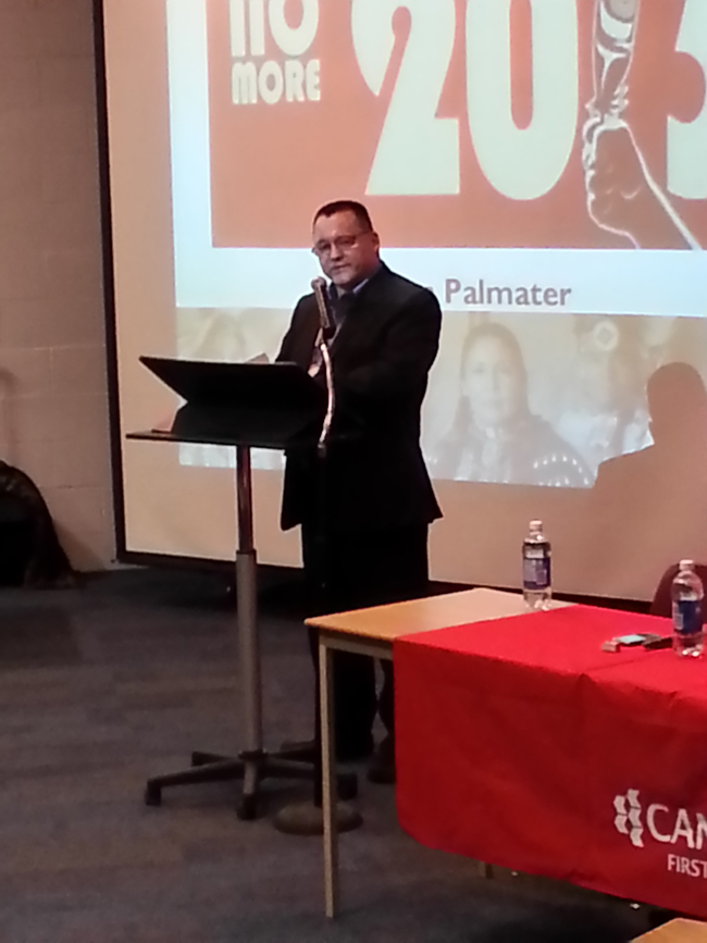 Anishinabek Nation Grand Council Chief Patrick Madahbee spoke at a teach-in at Canadore College on March 22.       – Photo by Monique DuBray