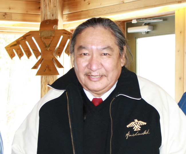 Elijah Harper visited with Union of Ontario Indians staff in 2009.   – Photo by Marci Becking