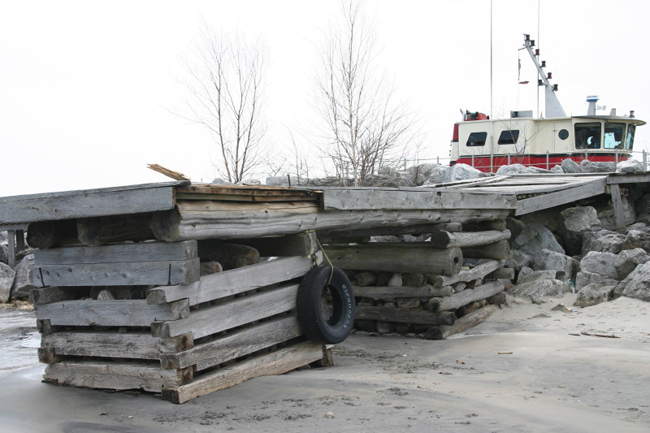 Low water levels in Georgian Bay exposes Christian Island ferry docks.