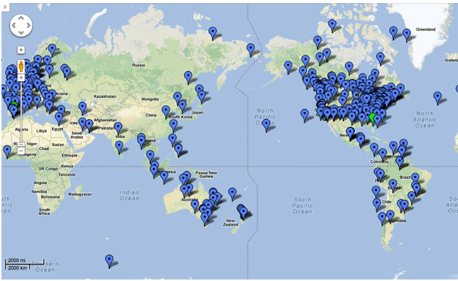 Google map showing where the 23,000 students were logging into the Aboriginal Worldview course from.