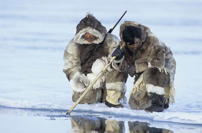 The Inuit of the Arctic can no longer hunt safely as the ice is breaking up around them.