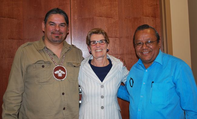 Chief Isadore Day, Wiindawtegowinini, Serpent River FN, Ontario Premier Kathleen Wynne, and Anishinabek Nation Deputy Grand Chief Glen Hare.    – Photo by Andre Morrisseau