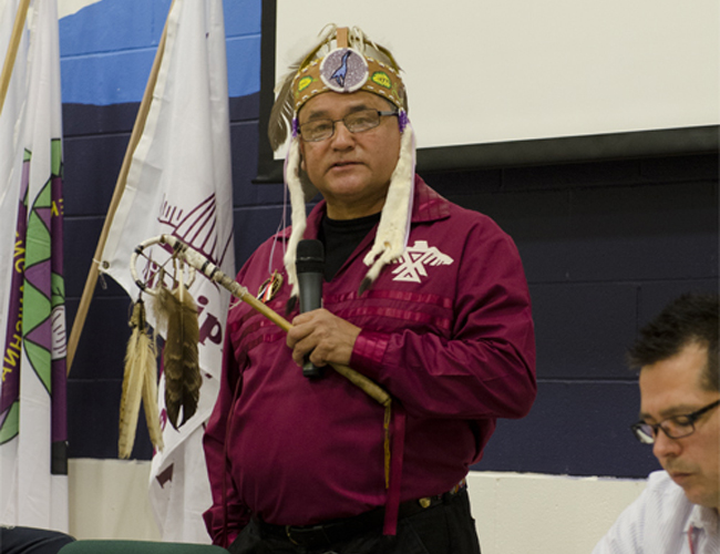 Grand Council Chief Patrick Madahbee speaks at the annual Grand Council Assembly in Munsee Delaware Nation on June 4, 2013.      – Photo by Monica Lister