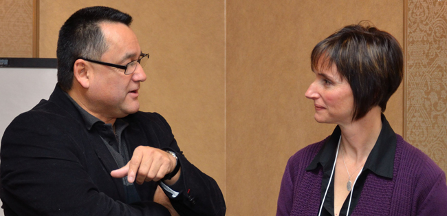 Anishinabek Nation Grand Council Chief Patrick Madahbee speaks with CBC journalist Jody Porter at the Restoration of Jurisdiction department's communications conference held in December.  – Photo by Monica Lister