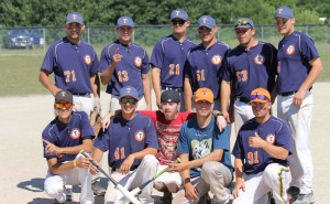 Curve Lake Trappers Back row from left:  Quinton Taylor, Jordan McCue, Jake Rose, Sonny McCue, Will Jones and Corey Kinsella. Front Row from left: Steve McNaughton, Aaron Benson, Bat Boy - Sam Fawn, Riley Capalbo and Nick Rose. –Photo by Jordane Chegahno