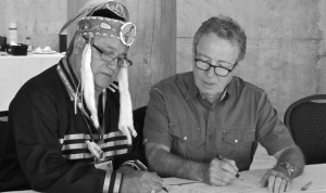 Grand Council Chief Patrick Madahbee and Aboriginal Affairs Minister David Zimmer signed agreement in June.       – Photo by Jody Kechego