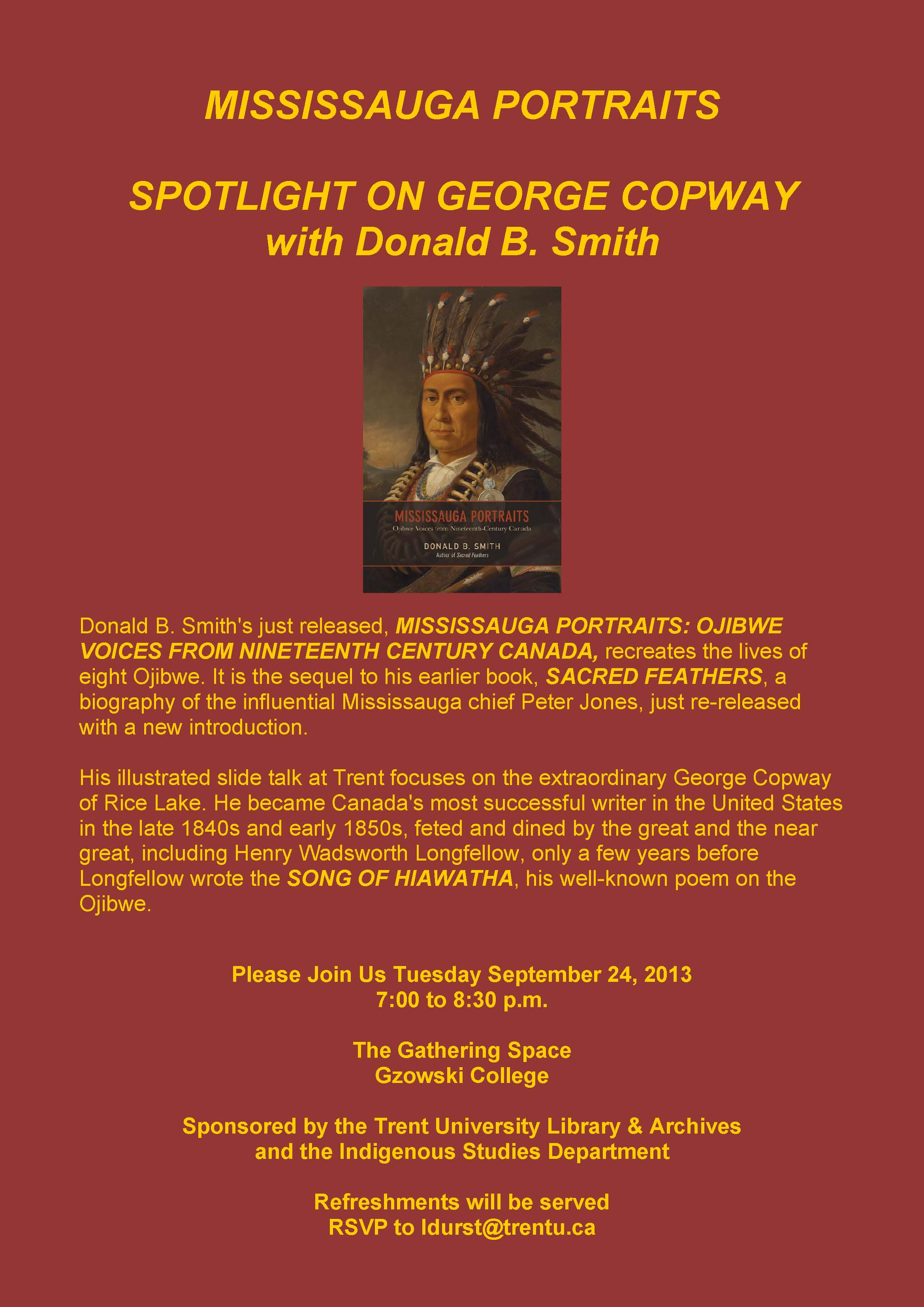Poster COPWAY Sept 24 Donald B. Smith's just released, MISSISSAUGA PORTRAITS:  OJIBWE VOICES FROM NINETEENTH CENTURY CANADA ...