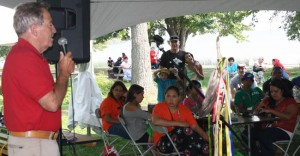 Aboriginal Affairs Minister David Zimmer answer youth questions at the Eshkeniijig Engagement held at Beaucage Park.    – Photo by Marci Becking