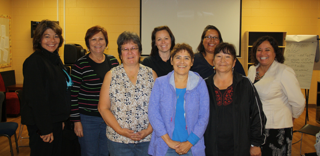 Regional Education Council meeting in Garden River FN held Sept. 16-17:  Lisa Restoule, Patricia Campeau, Cindy Fisher, Darlene Monette, Mary Ann Giguere, Linda Peterson, Darlene Naponse, and Tracey O'Donnell.