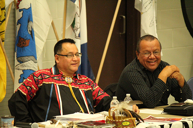 Anishinabek Nation Grand Council Chief Patrick Madahbee and Deputy Grand Council Chief Glen Hare at the Anishinabek Nation Special Assembly on Education     -- Photo by Marci Becking