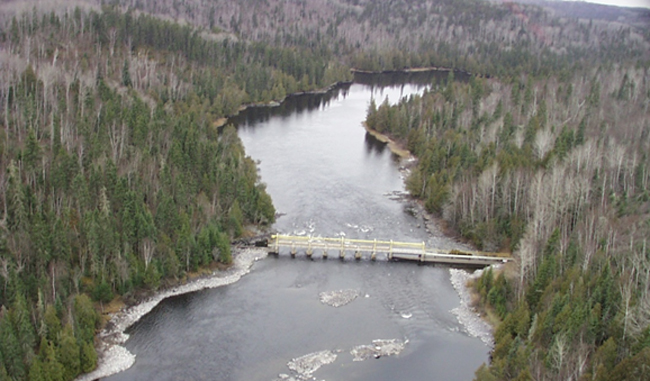 Aerial view looking downstream from White Lake Dam.