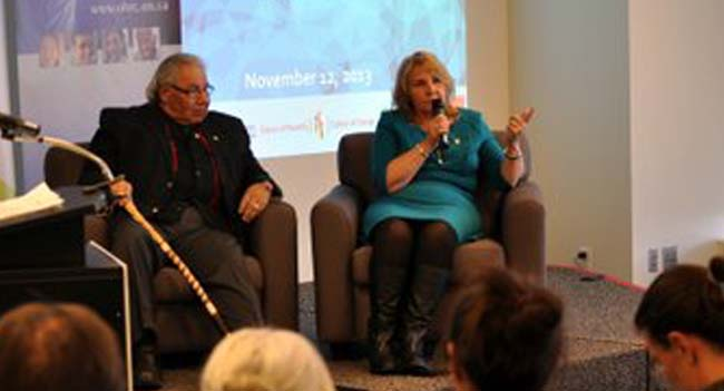 Honourable Justice Murray Sinclair, Chair, Truth and Reconciliation Commission and TRC Commissioner Dr. Marie Wilson.