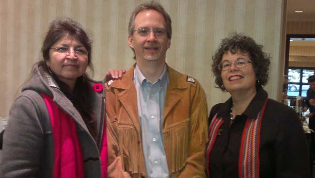 Participants at the Canadian Association of University Teachers gathering: Rose Ella Cameron, Anishinabekwe, Algoma University; Karl Hele, Anishinaabe, Director First Peoples Studies at Concordia University; Lisa Kisch, Metis, Algoma U.