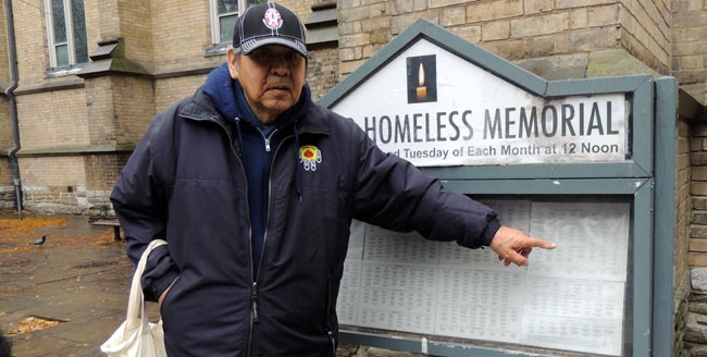 Andrew Wesley at The Toronto Homeless Memorial outside Trinity Church.