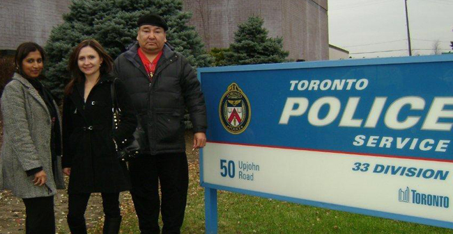 Lawyer Saadia Ali Bokhari, supporter Lesley Belleau and John Fox at Toronto Police 33 Division following a Nov. 21st meeting to discuss the death of John's daughter, Cheyenne.