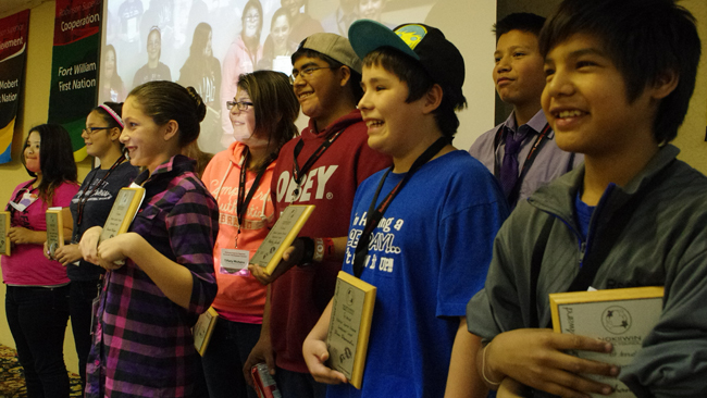 Eight youth entrepreneurs from the Robinson Superior region gathered at the Nov. 5-7 Regional Economic Development Summit in Thunder Bay to accept awards from Nokiiwin Tribal Council for their achievements in business.