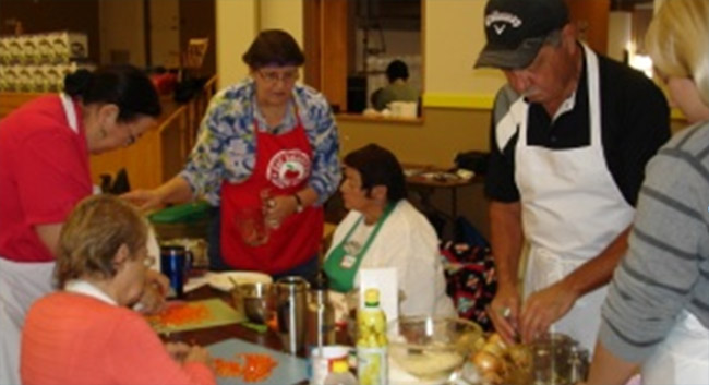 Dokis First Nation Community Kitchen: Ivy Restoule, Jackie Restoule, Amy Campbell, Verna Polson, Charles Restoule.