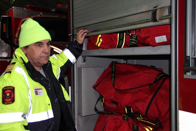 Beausoleil First Nation Fire Chief Allan Manitowabi points out winterizing equipment that had to be added to a truck that was funded by Aboriginal Affairs Northern Development Canada and purchased in 2010 by Ontario First Nations Technical Services Corporation.
