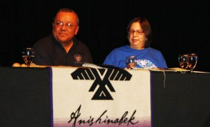 Anishinabek Nation Deputy Grand Council Chief Glen Hare and Union of Ontario Indians Social Services director Adrienne Pelletier talk about the state of child welfare in the Anishinabek Nation at the 2014 Anishinaabemowin-Teg Language conference in Sault Ste. Marie, Michigan.