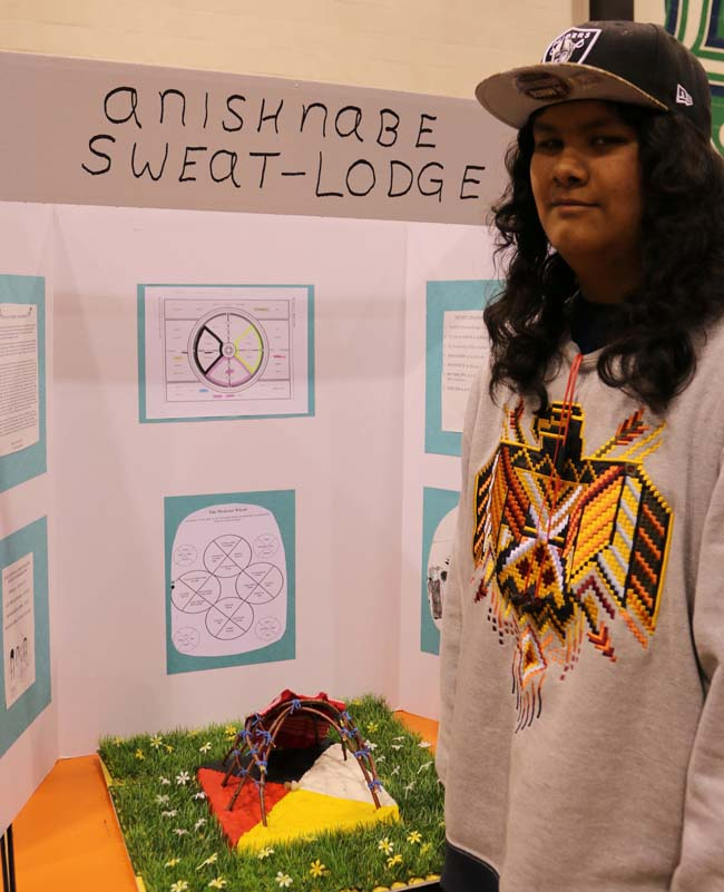 Cyril Commanda-Stevens with his project 'Anishnabe Sweat-Lodge' which won an Anishinabek Nation Award.