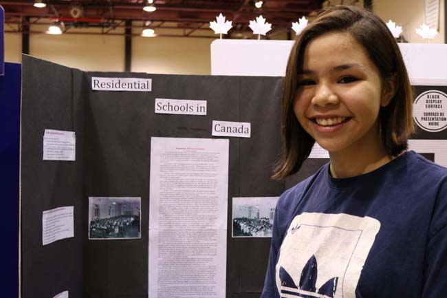 Kirsten McLeod with her project 'Residential Schools in Canada'.