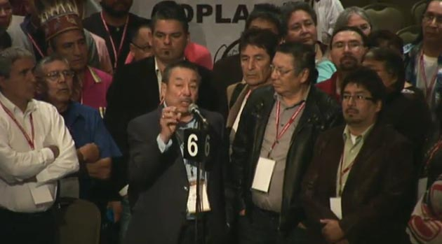 Ontario Regional Chief Stan Beardy with some of the Ontario delegation at the special AFN assembly in Ottawa May 27.