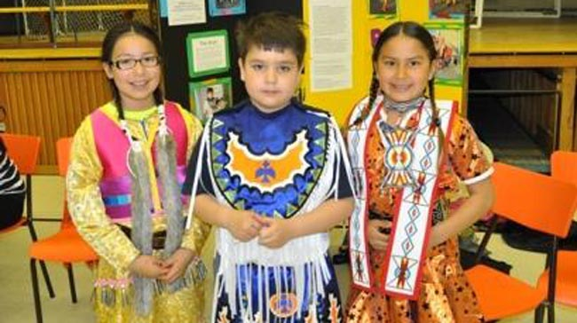 Ava Owl, Carter McGregor & Avery Sutherland, (Shawanosowe School, Whitefish River First Nation).  Winners of the Founder Award for the project 'Dance'.