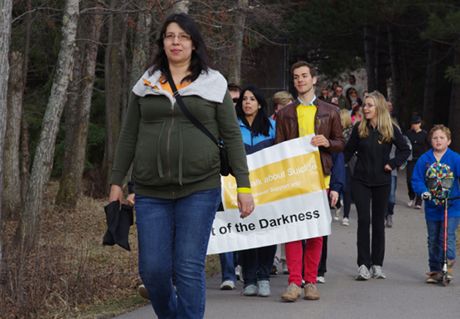 Wikwemikong's Lisa Bishop, left, completed her third Out of the Darkness Memorial Walk on May 4 in Thunder Bay. The annual walk celebrates the lives of those lost to suicide.
