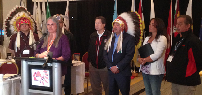 Chiefs of Ontario press conference addressing Bill C-10.   – Photo by Jamie Monastyrski