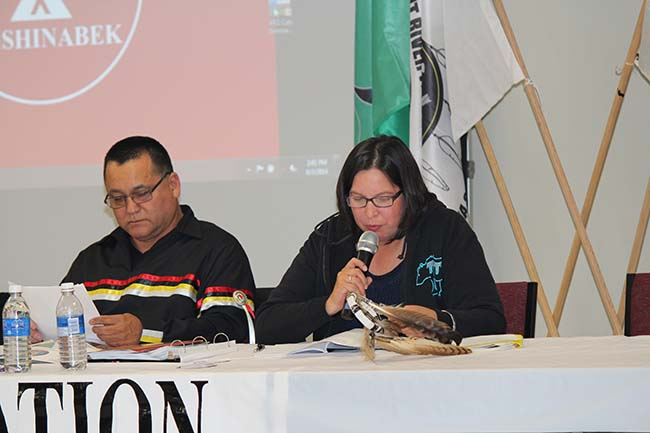 Anishinabek Nation Grand Council Chief Patrick Madahbee and Union of Ontario Indians Social Services Director Adrienne Pelletier introduce the resolution on Murdered and Missing Indigenous Women to Chiefs at Assembly on June 3rd in Long Lake #58 First Nation.