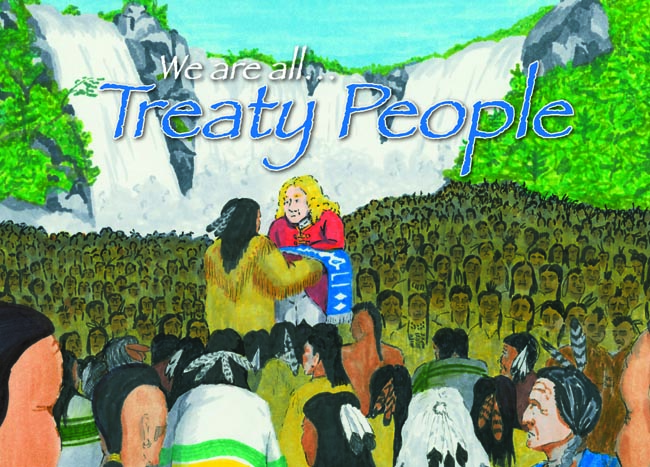 """Cover of """"We are all Treaty People"""" depicting the Treaty of Niagara Wampum belt presentation in July 1764.  Book is available for purchase in English or French at www.goodminds.com"""
