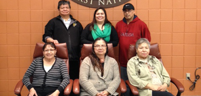 Chippewas of the Thames governance Committee members: Back row, left: Warren Huff, Betsy Kechego, Clifford Riley Jr. Front row, left: Beulah Kechego, Mary McGahey, Maxine Hendrick.  Missing: Mary Deleary and Raymond Deleary.