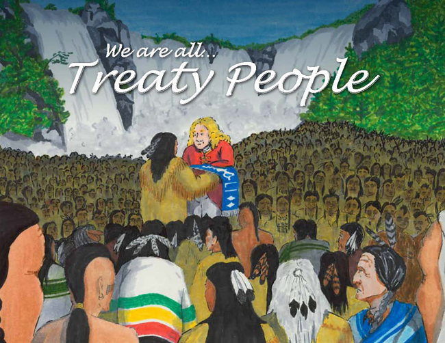"Cover of ""We are all Treaty People"" depicting Treaty of Niagara wampum belt presentation in 1764.  Purchase your copy at www.goodminds.com"