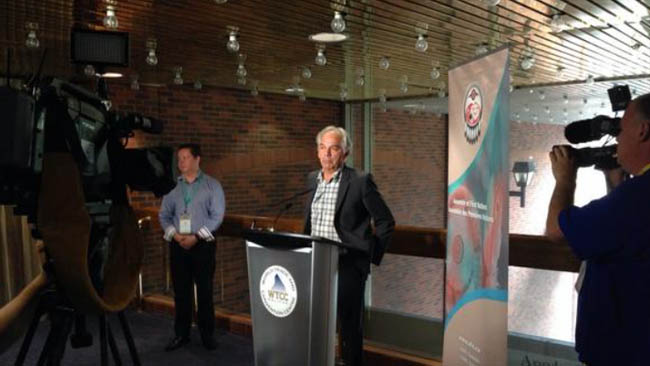 AFN Quebec regional Chief Ghislain Picard during a press conference on July 15.    –Photo by APTN/Tim Fontaine