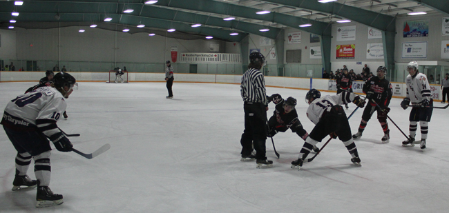 Fort Frances Lakers vs. the Dryden Ice Dogs exhibition game in Pic River First Nation.