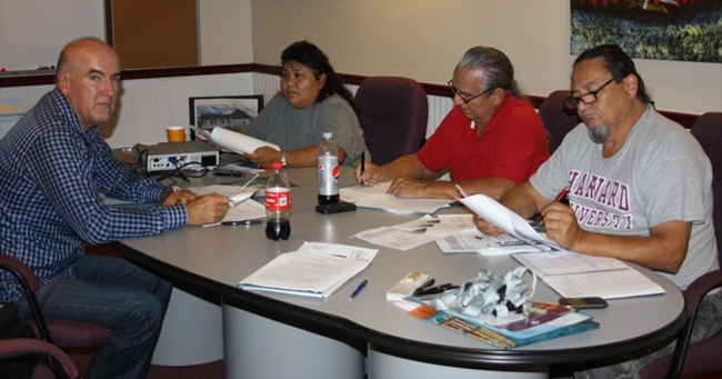 Magnetewan First Nation Aug. 21 constitution meeting: Fred Bellefeuille,  Joanne Dominic, Chief William Diabo and Anthony Laforge.   – Photo by Faye Sabourin