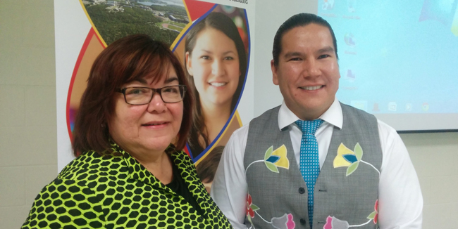 Dr.  Sheila Cote-Meeks, Associate Vice-President, Academic and Indigenous Programs at Laurentian University with special guest, author Waub Rice.