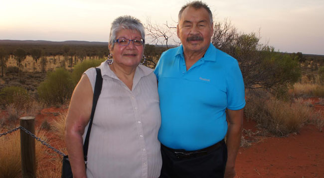 Julie and Frank Ozawagosh at Uluru (also known as Ayers Rock), one of Australia's most recognizable natural landmarks.