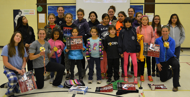 Staff and students of Lakeview School in M'Chigeeng First Nation spent the day with Team Canada Olympians Cheryl Pounder and Becky Kellar.