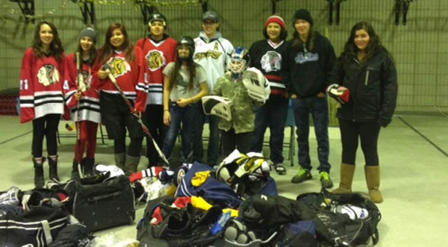 Beausoleil youth receive hockey equipment.  Back Row:  Jayda Roote, Lauren Roote , Kolby Sandy, Pierce Sandy , Ryan Mcwaters, Jaden Monague , Kyle Partridge, Kaylee Desroches.   Front Row:  Chantel Jamieson, Riley Desroches