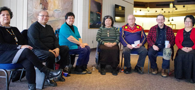 Wikwemikong Elder and Waterwalker Josephine Mandamin, centre, and a group of five other Elders from northwestern Ontario gathered on Dec. 17 with Lakehead University Aboriginal Initiatives vice provost Cynthia Wesley-Esquimaux, left, to discuss options to help youth find their way while studying at the university.
