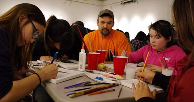 Rocky Bay artist Shaun Hedican shared his spiritual self-portrait techniques with a group of First Nations youth, including four Fort William youth, during a Jan. 15 Neechee Studio workshop at Definitely Superior Art Gallery in Thunder Bay.