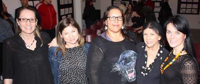 Jules Koostachin, Festival Organizer, filmmakers Laura Milliken, Darlene Naponse, Alanis Obomsawin and Michelle Latimer.
