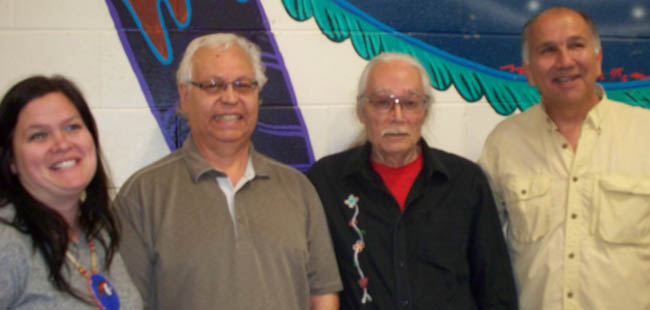 Instructor at Fanshawe College - Jessica Ford, Executive Director at N'Amerind Friendship Centre - Al Day, guest speaker Jim Dumont and Cultural Coordinator at N'Amerind - Ron Hill sharing smiles at the Yesalihuni Program.