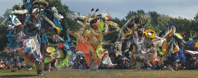 Wikwemikong Unceded Indian Reserve holds a competition Pow-wow every year during the August Civic Holiday weekend.