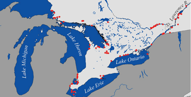 Figure 1. Distribution of Silver Lamprey within the Great Lakes – Upper St Lawrence. (Fisheries and Oceans Canada, 2012)