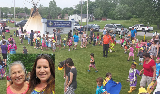 Aamjiwnaang First Nations 36th Children's Pow-wow.  Inset:  Pauline Williams and Sophie (Williams) Solares.