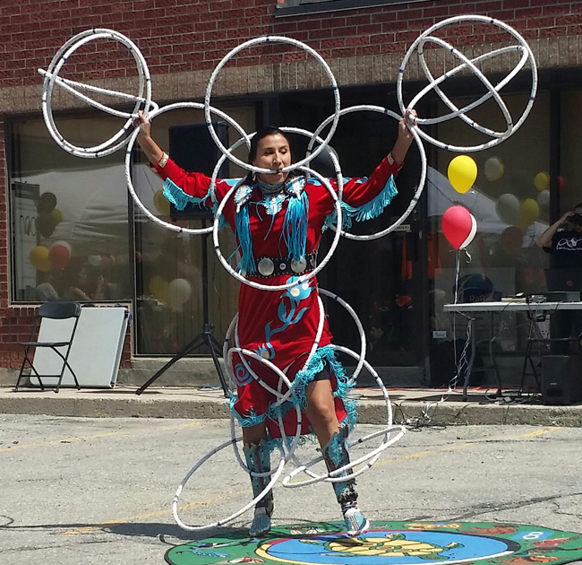 World Champion Hoop Dancer Lisa Odjig performing at The Gathering, Mississauga June 6.