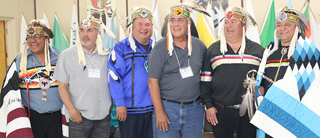 Deputy Grand Council Chief Glen Hare, Northern Superior Regional Chief Pierre Pelletier, Lake Huron Regional Chief Joe Endanawas, Southwestern Regional Chief Joe Miskokomon, Southeastern Chief Jim Bob Marsden and Grand Council Chief Patrick Madahbee.