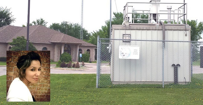 Air quality monitoring station in Aamjiwnaang First Nation.  Inset:  Environmental Committee Coordinator Marina Plain.
